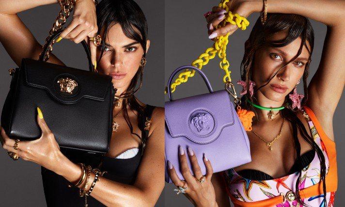 坎達爾珍娜、小賈斯汀老婆Hailey Bieber頂著濕髮造型入鏡Versace春夏廣告。圖/Versace提供