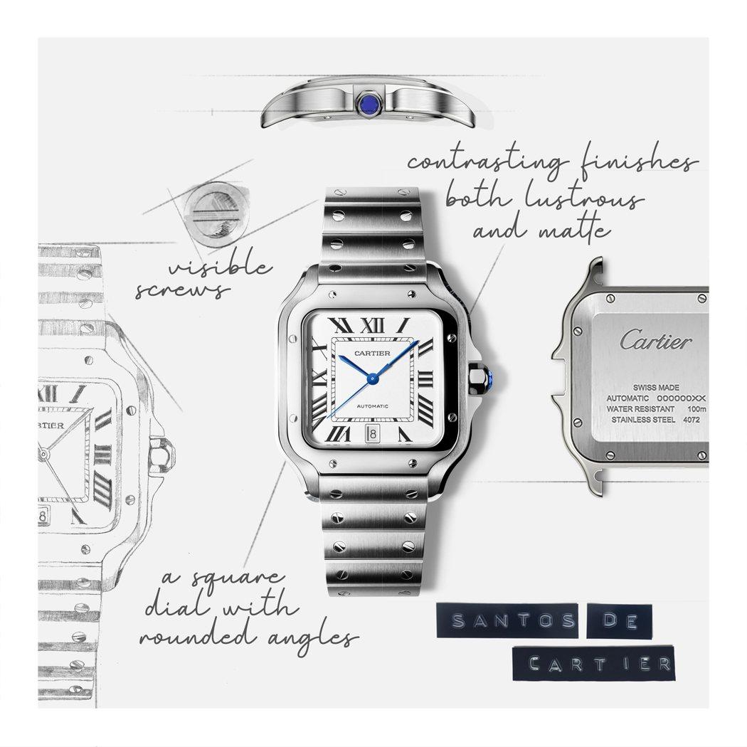 Santos de Cartier腕錶採用方正造型錶殼,並大膽將以往隱藏於內的螺...