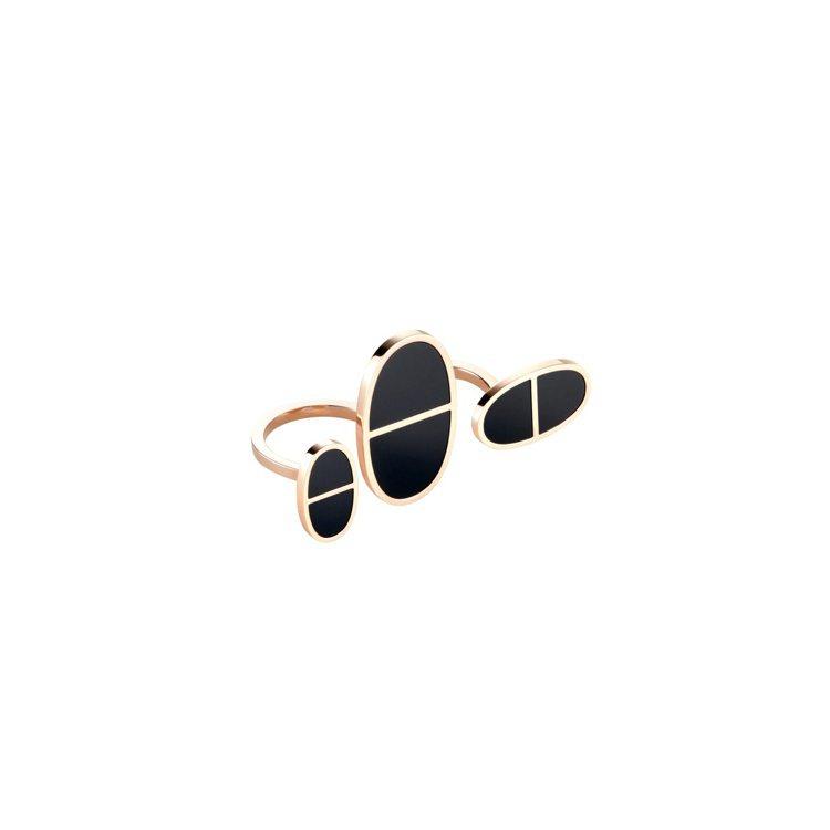 愛馬仕Chaîne d'ancre Verso系列玫瑰金與黑色陶瓷珠寶雙指戒指,...