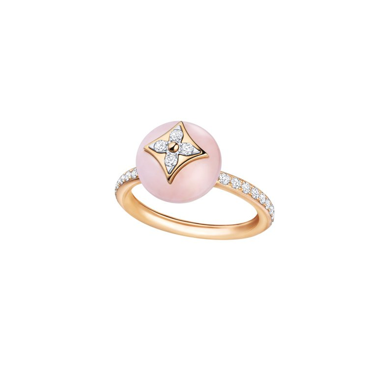 路易威登B.Blossom戒指小型款,玫瑰金鑲嵌很色蛋白石與鑽石,17萬7,00...