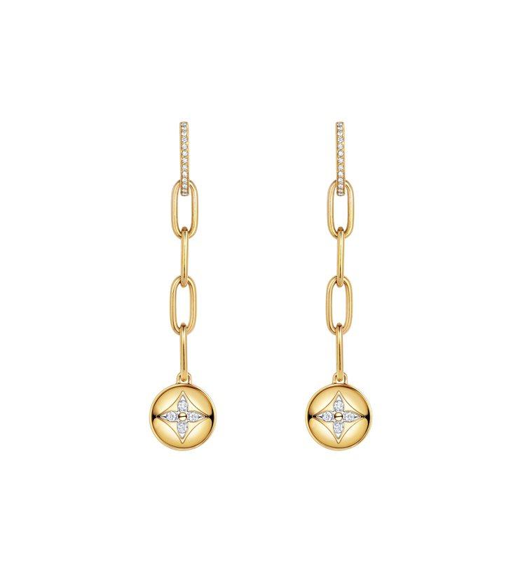 路易威登B.Blossom長耳環,黃K金鑲鑽,26萬3,000元。圖/路易威登提...