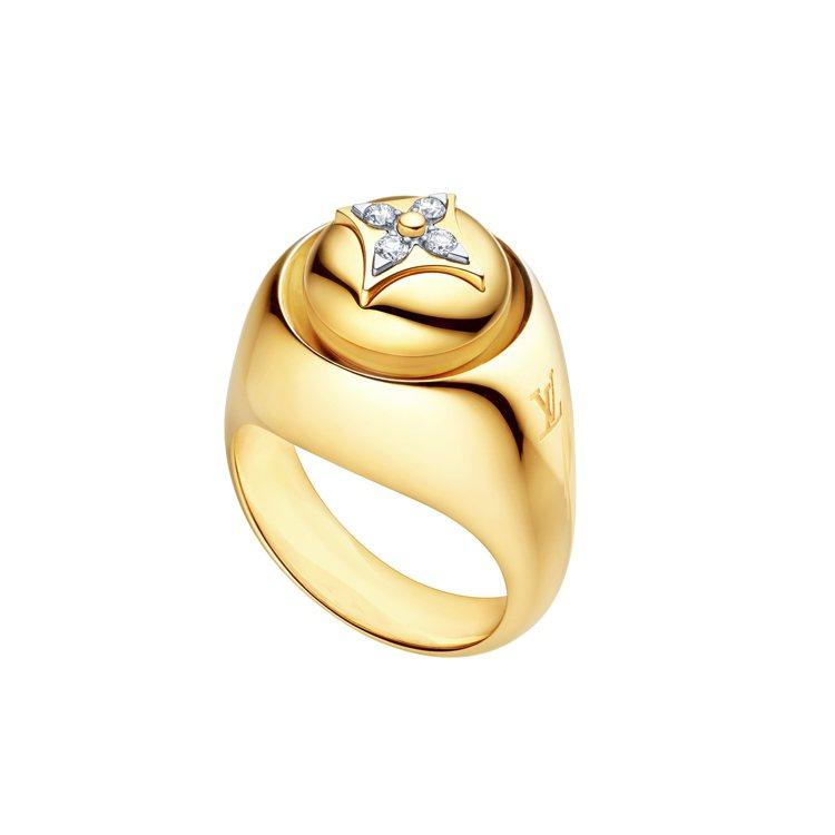 路易威登B.Blossom徽章戒指,黃K金鑲鑽,22萬7,000元。圖/路易威登...