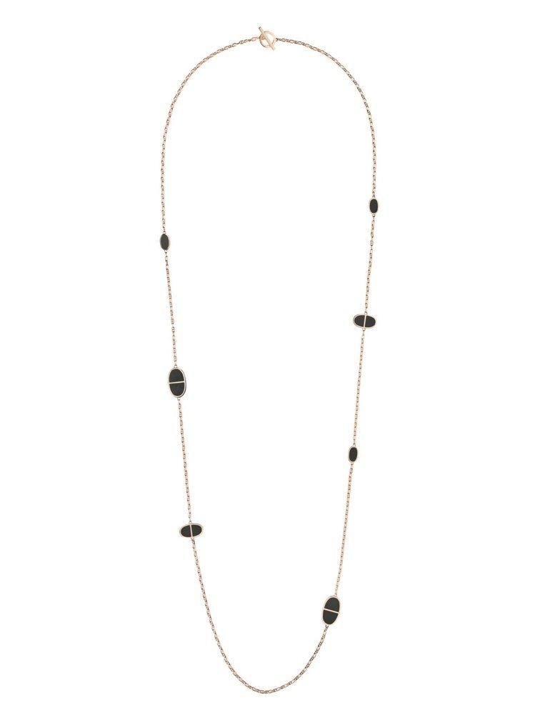 愛馬仕Chaîne d'ancre Verso系列玫瑰金與黑色陶瓷珠寶長鍊,39...