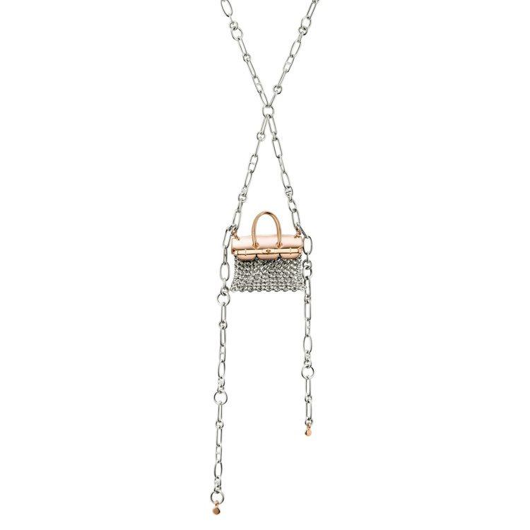 愛馬仕Précieux Birkin系列純銀與玫瑰金珠寶長鍊,73萬5,500元...