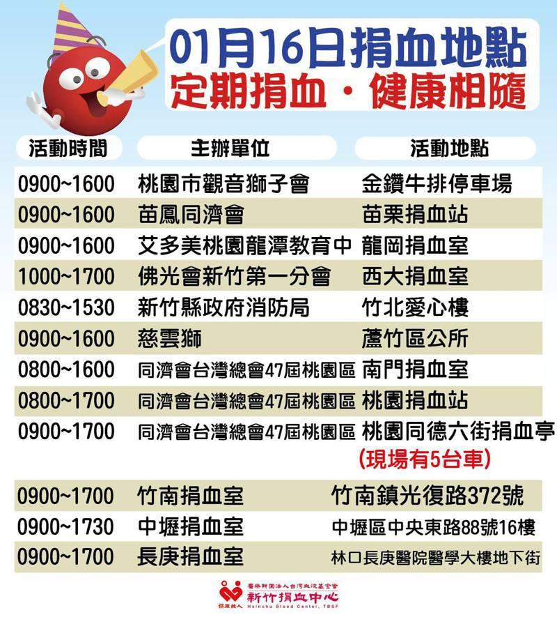 新竹捐血中心1月16日捐血活動資訊。圖/取自新竹捐血中心粉絲團