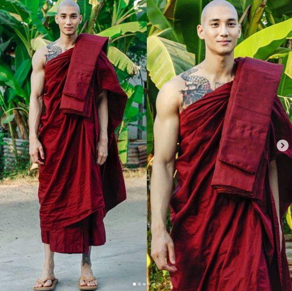 緬甸男模Paing Takhon在元旦許下新年新希望「出家10天」,和尚造型依舊帥氣,讓他追蹤者迅速暴增。 圖擷自ig