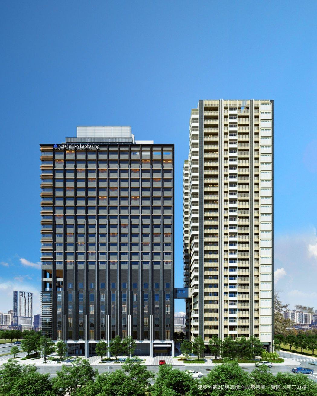 「和陸寓邸」與高雄日航酒店藉由空橋聯通。圖/業者提供