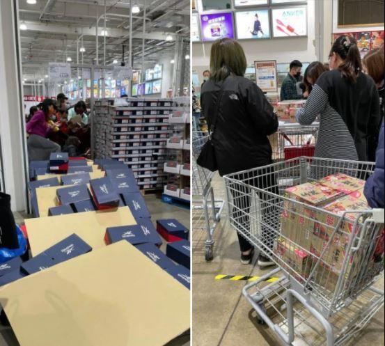 桃園一間好市多15日一早開賣暖暖包,才1分鐘即被搶購一空,現場相當混亂,甚至連一旁鞋盒都被弄倒。 圖擷自臉書社團「COSTCO好市多 消費經驗分享區」