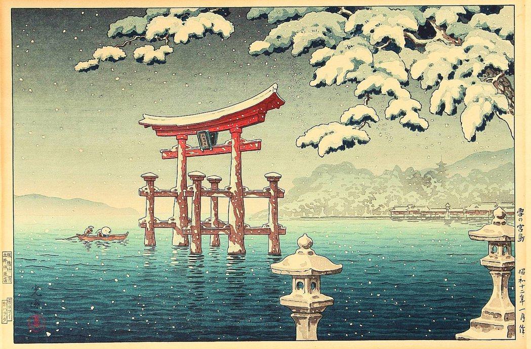 圖為1934年的嚴島神社浮世繪。 圖/1934年浮世繪〈雪の宮島〉