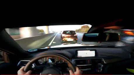 影/BMW M4無限速公路上演驚魂記 280-140km/h 2秒急煞!