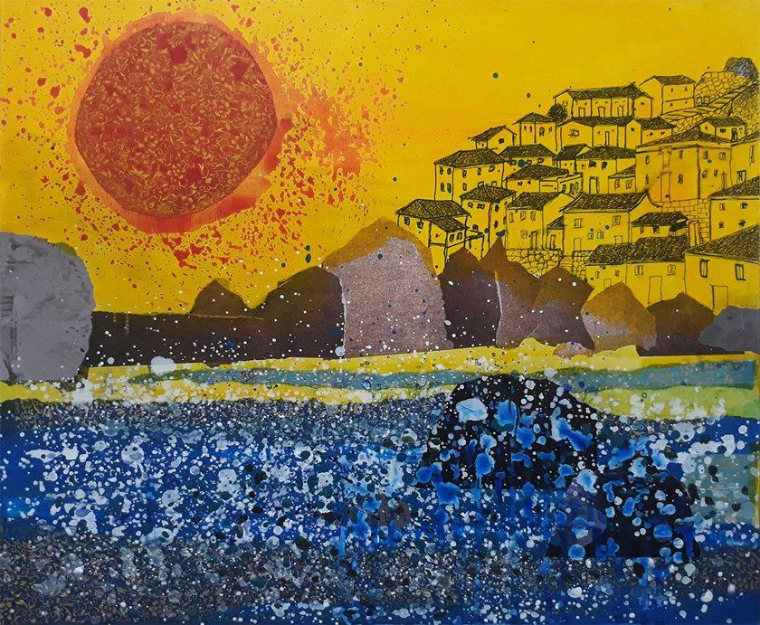 畫家曹松清複合媒材作品〈夏日的海邊〉。 臺華藝術中心/提供