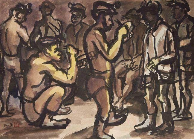 洪瑞麟,《吃便當》,1957,墨、淡彩、紙,38.5×53.5 cm。臺北市立美...