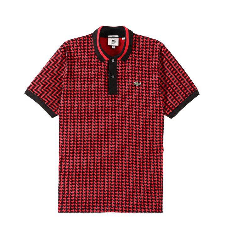 蕭敬騰穿LACOSTE紅黑色千鳥格紋Polo衫,4,880元。圖/LACOSTE...