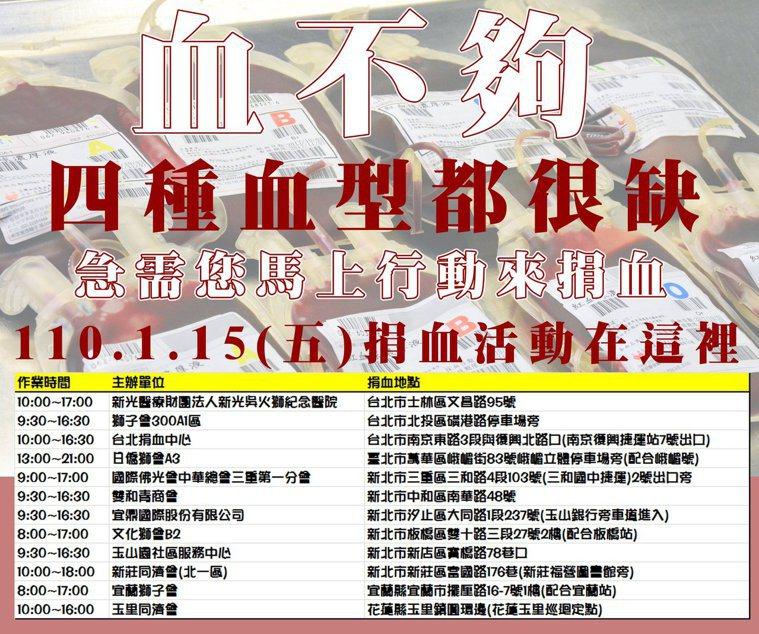 台北捐血中心提供的今天捐血活動資訊。圖/取自台北捐血中心粉絲團