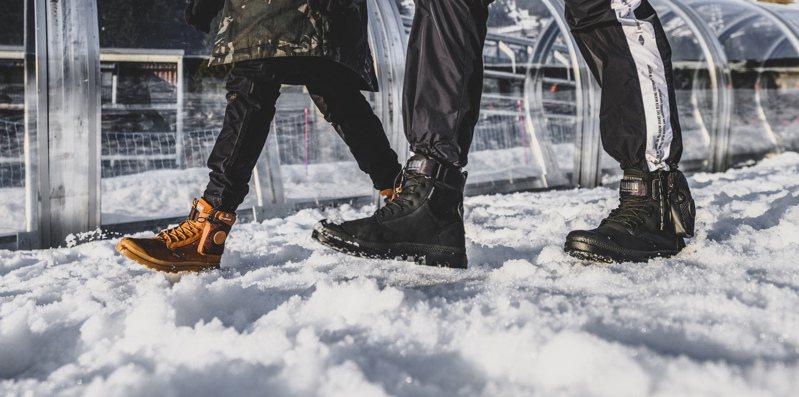 Palladium推出世界第一款能藉由智能操控的THERMIC SPORTCUFF WP+熱能智慧調控防水軍靴,震撼業界。圖/Palladium提供