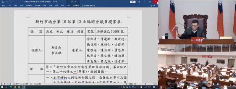 新竹市議會昨天3讀通過修正食品安全衛生管理自治條例,明訂豬肉製品不得檢出萊克多巴胺等乙型受體素,並訂罰則。圖/截自市議會網站