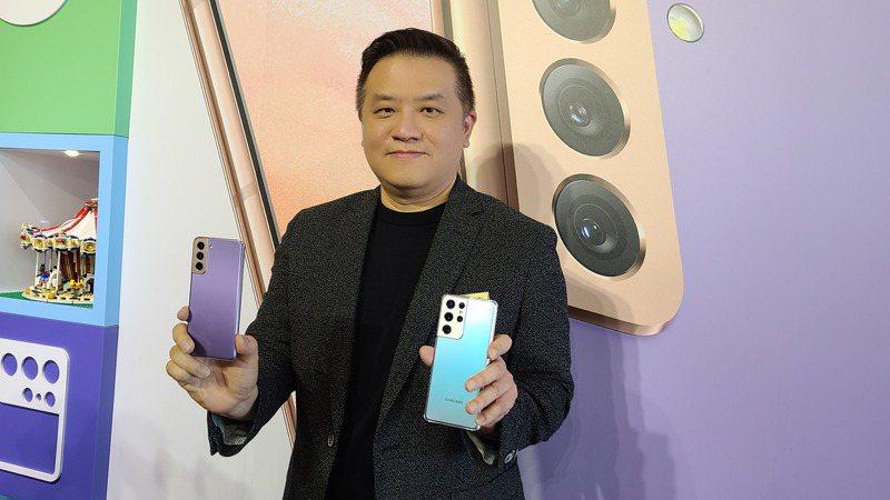 台灣三星電子行動與資訊事業部副總經理陳啟蒙表示,台灣為S21系列首波上市的市場。  記者何佩儒/攝影