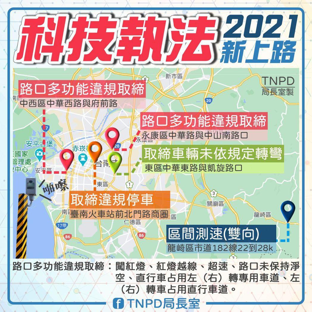 台南市交通警察大隊宣導轄區科技執法類型、地點及取締項目,提醒用路人不要再貪圖一時...
