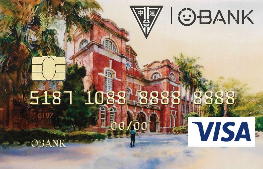 以建中紅樓為卡片主題圖案的建中認同卡。圖/王道銀行提供