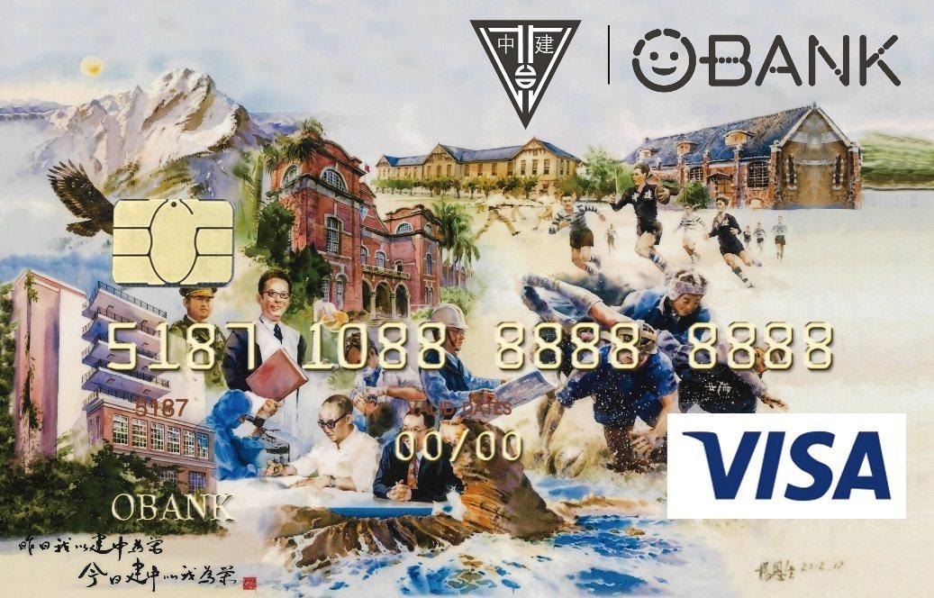 主題為建中精神的建中認同卡。圖/王道銀行提供