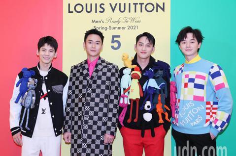 路易威登2021春夏男裝系列上市,邀請藝人林柏宏、劉冠廷、張軒睿、范少勳在微風信義店展示春夏男裝。