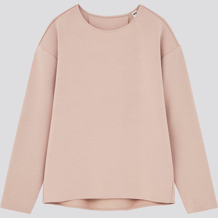 UNIQLO女裝彈性雙面織紋上衣790元。圖/UNIQLO提供