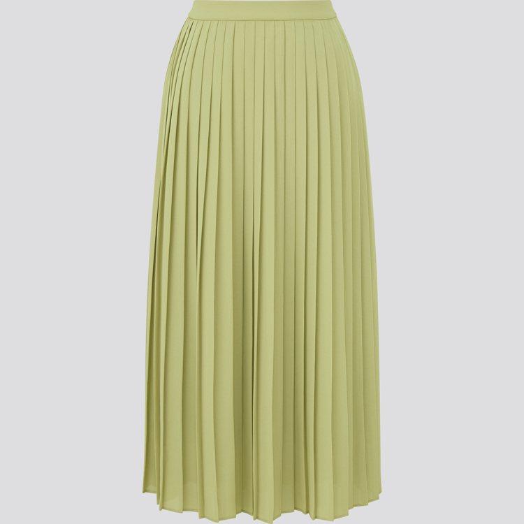 UNIQLO女裝雪紡細褶長裙990元。圖/UNIQLO提供