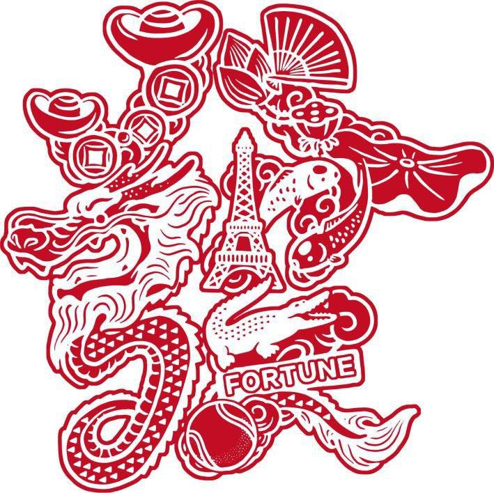 LACOSTE農曆新年設計元素的「發」字,以鐵塔、元寶和猛鱷等組成。圖/LACO...