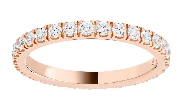 Félicité婚戒,2.1毫米寬,玫瑰金鑲嵌圓形鑽石,20萬4,000元。...