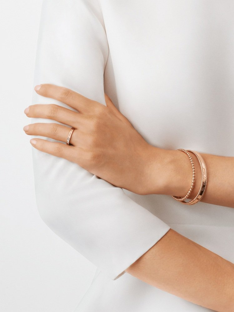 Signature Etoiles婚戒,3毫米寬,玫瑰金鑲嵌圓形鑽石,51,50...