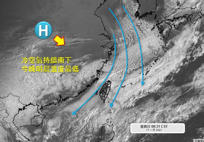 新一波強烈大陸冷氣團南下,今晚到明天清晨會降到本次冷空氣的最低點。圖取自「天氣職...