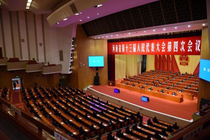 圖為河南省十三屆人大四次會議大會籌備現場。(河南人大網)