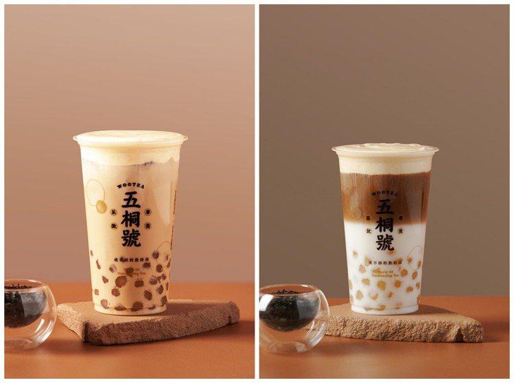五桐號以「可以喝的月餅」為主軸,推出流心奶皇珍珠奶茶、流心奶皇珍珠拿鐵。圖/五桐...