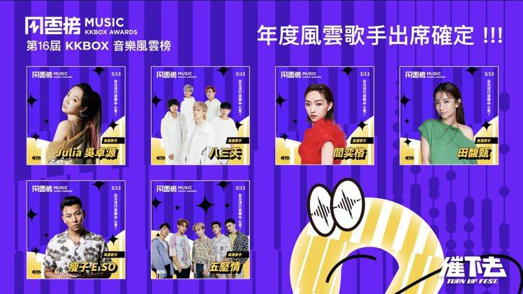 第16屆KKBOX音樂風雲榜年度風雲歌手出席名單確認。圖/KKBOX提供