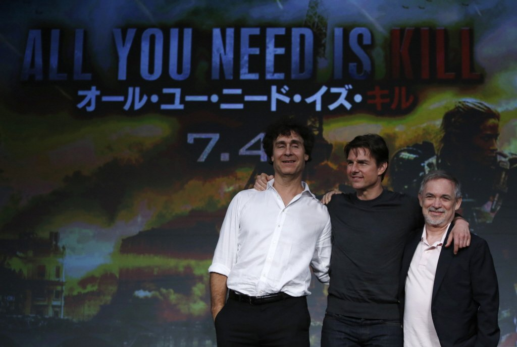 湯姆克魯斯(中)與道格李曼(左)將一起赴外太空拍新片。圖/路透資料照片