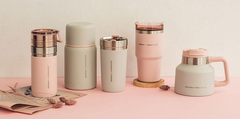 星巴克XStanley最新聯名以內斂的清水模灰搭配淡淡甜美的煙粉紅,給人春意盎然的氣息。 圖/星巴克