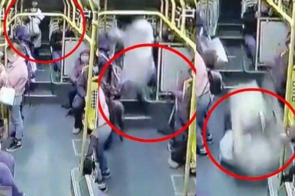 公車突然的緊急煞車,導致車內一名乘客從後方座位向前重摔,經送醫搶救無效仍不幸身亡。 圖/新聞晨報