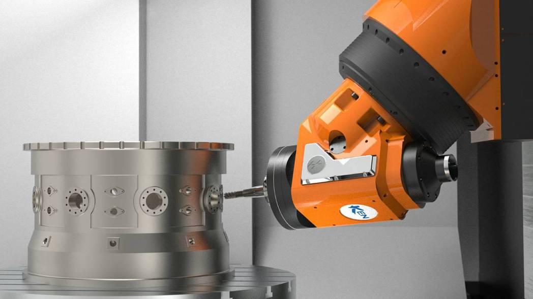 RHINO 1250臥式五軸銑削加工中心機採用歐洲製造的扭矩電機驅動萬向頭。 大...