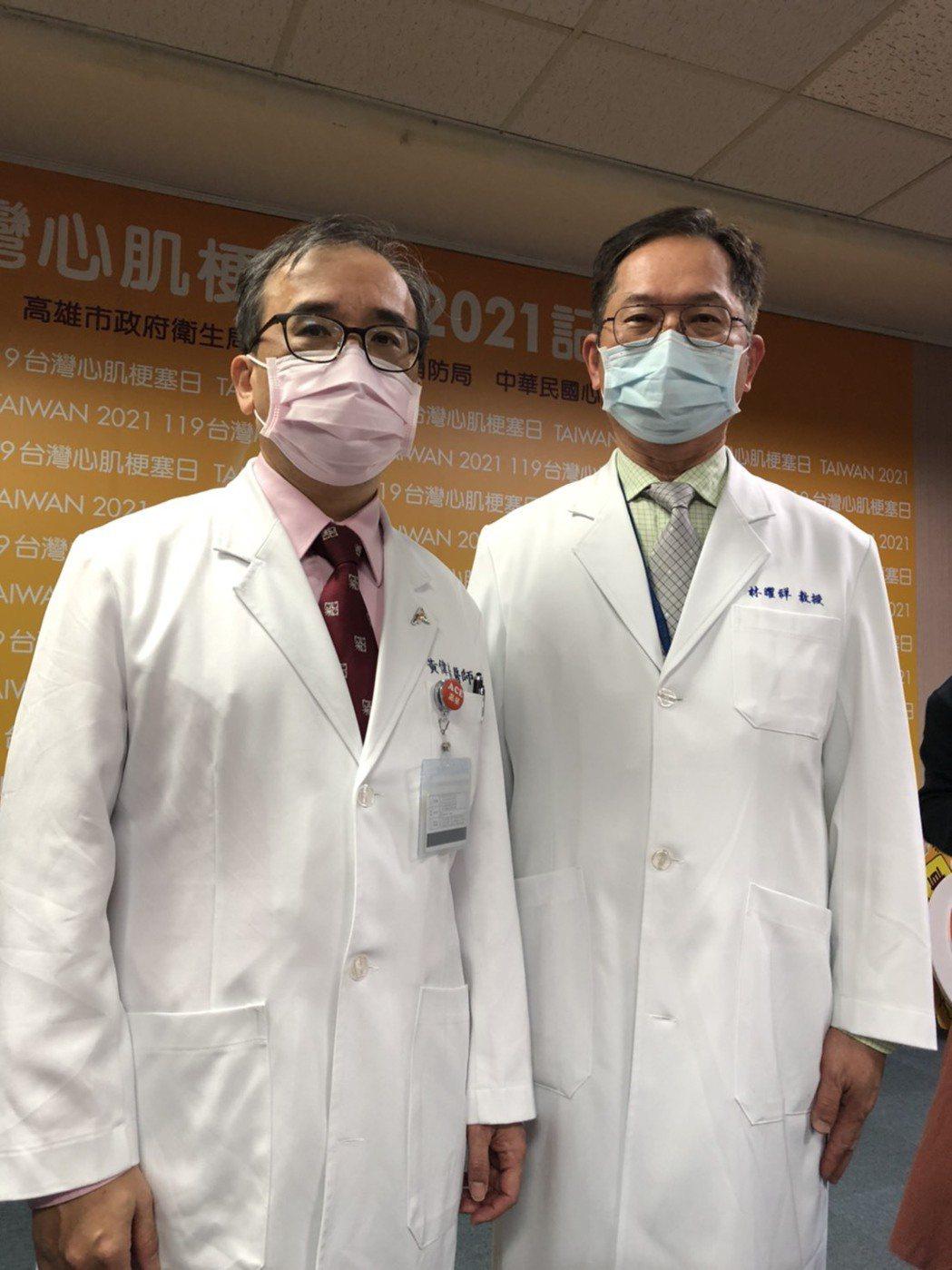 高榮院長林曜祥(右)說,心肌梗塞分秒必爭,高雄連4年捐贈到院前救護車用藥「守心藥...