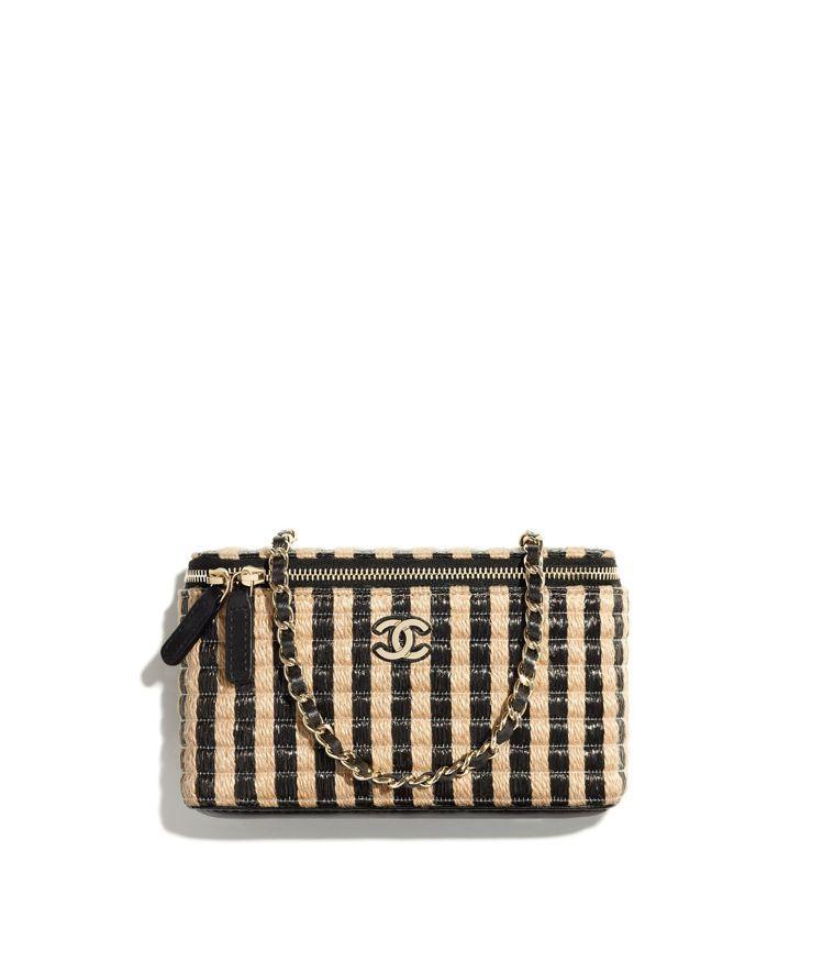 米黑雙色拉菲草編織皮穿鍊帶小包,45,800