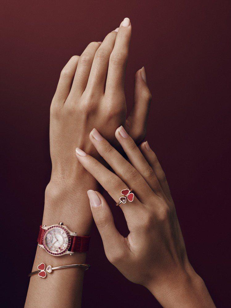 蕭邦Happy Sport系列腕表,獲公平採礦認證之18K玫瑰金和精鋼搭配2顆滑...