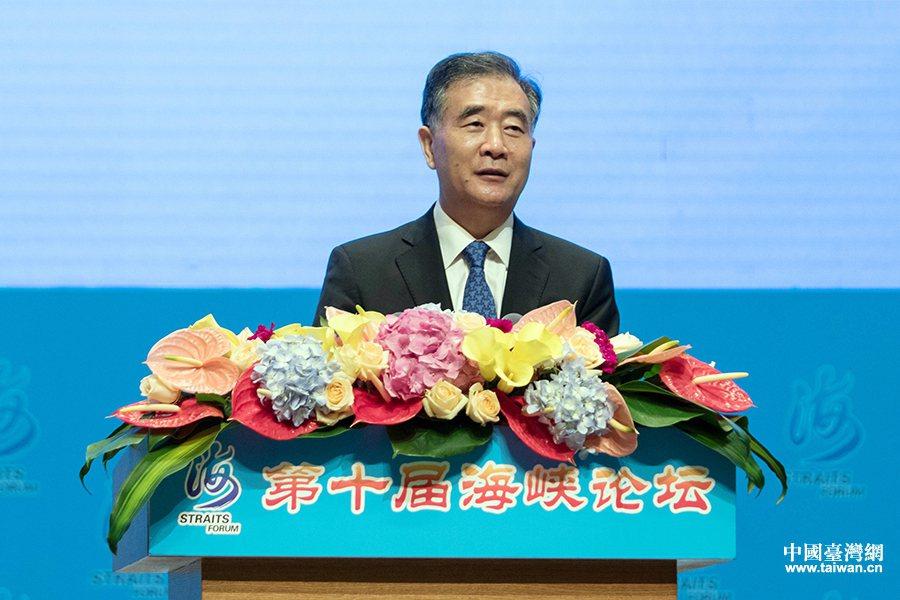 大陸全國政協主席汪洋2018年出席第十屆海峽論壇開幕式並致辭。圖/中國台灣網