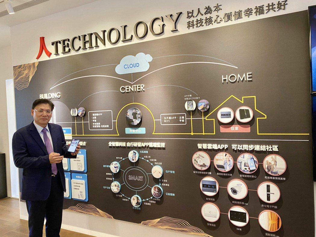 泰御建設董事長李金池說,「泰御天鑄」用手機APP就能運作家裡的一切事務。記者宋健...