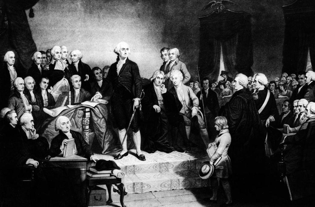 圖為1789年4月30日,總統華盛頓的首次就職典禮。 圖/美聯社