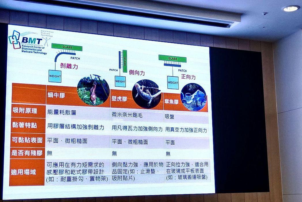 鍾宜璋團隊「仿生無殘膠乾式膠帶」比較表。 楊鎮州/攝影