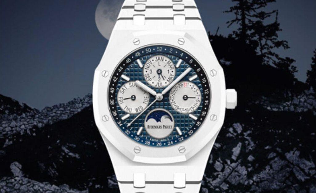 陳冠希擁有的愛彼(AP)白陶瓷萬年曆腕表,要價破3百萬。圖/翻攝網路