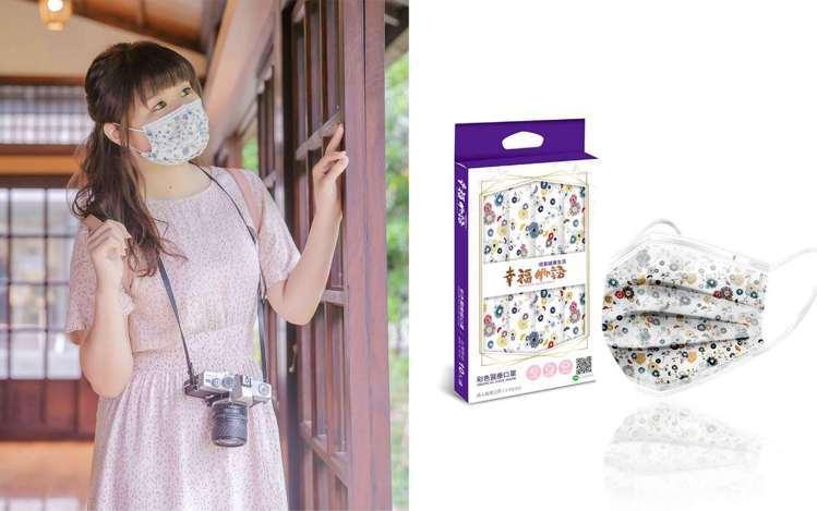 花田物語款以一朵朵色彩鮮艷的繁花在口罩上點綴出層層美麗花田。圖/明基健康生活提供
