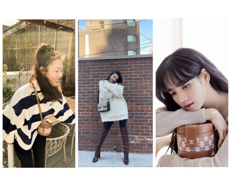 劉雯、Red Velvet成員Joy、BLACKPINK Lisa詮釋Triomphe Embroidery包款。圖/CELINE BY HEDI SLIMANE提供