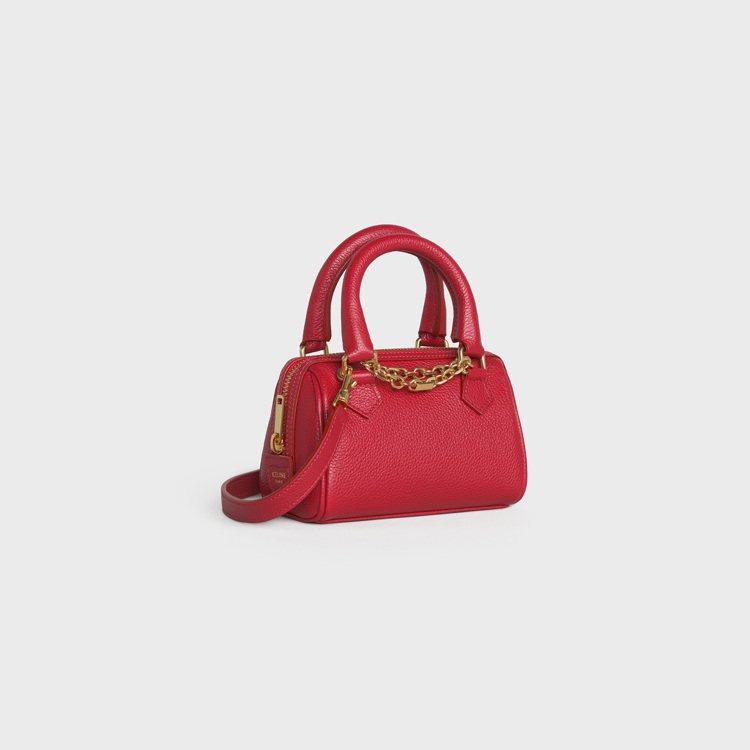 CELINE 2021新春系列紅色粒面小牛皮迷你波士頓包,59,000元。圖/C...