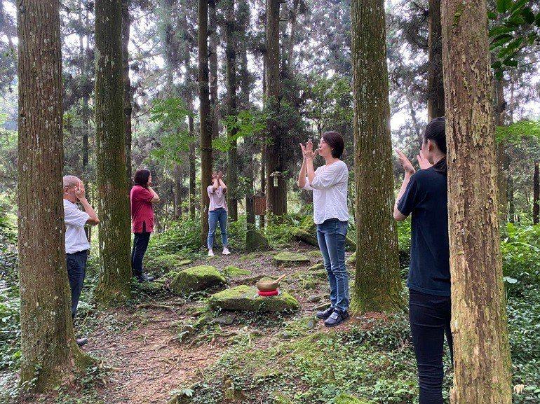 在森林裡的瑜珈體驗,可以大口森呼吸。圖/孟宗山莊提供